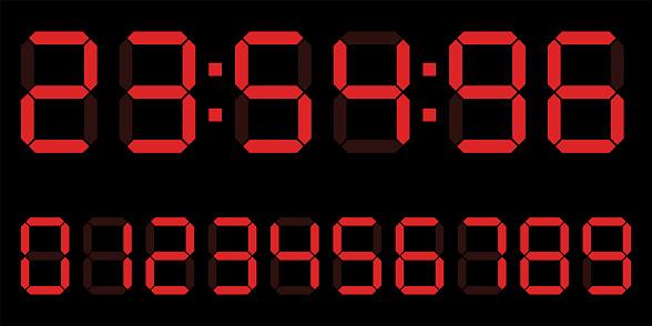 red digital clock number set. Electronic Counter, calculator number. Vector illustration.