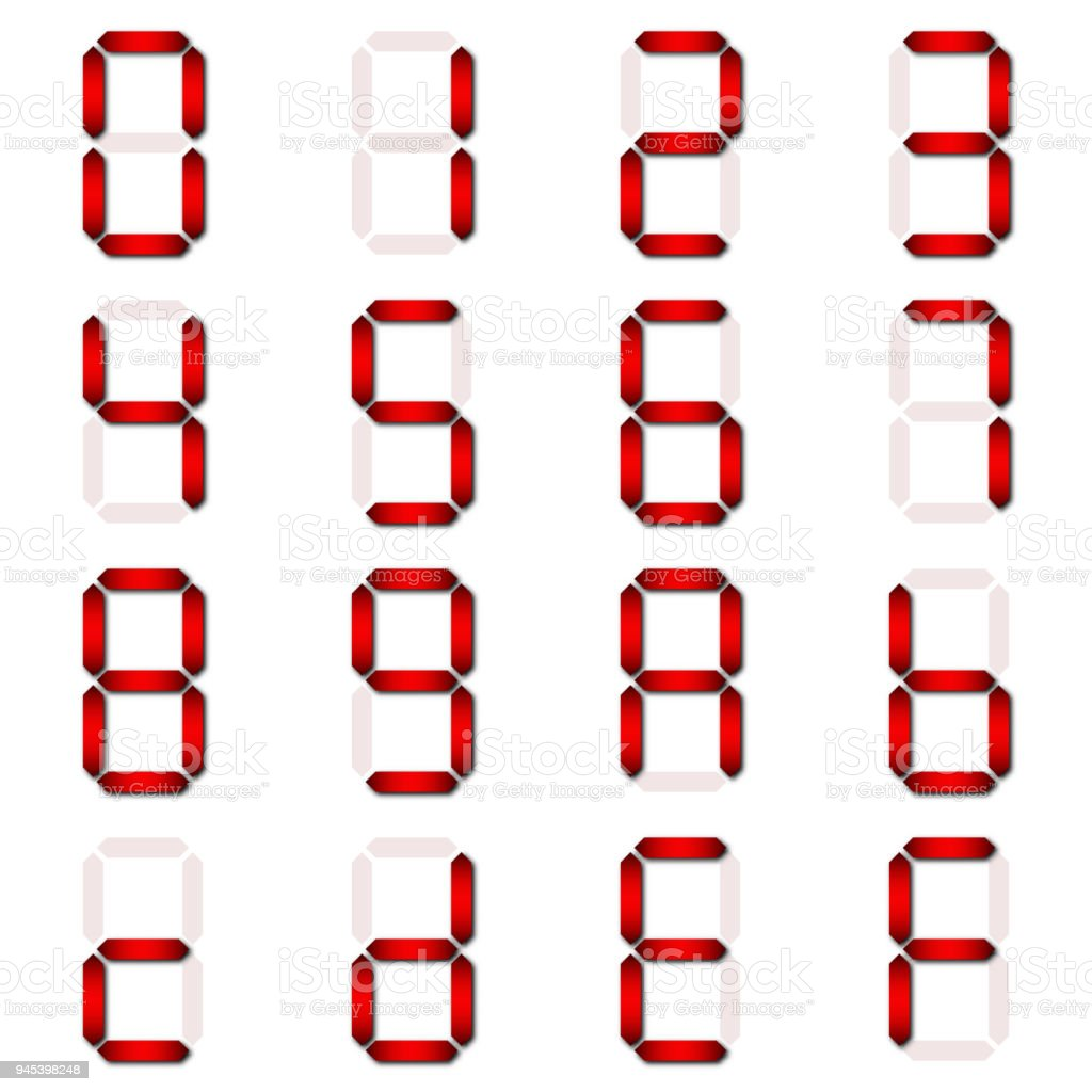 red digital number set of seven segment type on isolate white rh istockphoto com Cartoon Digital Clock Funny Clock Face Clip Art