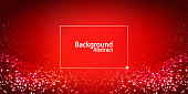 Red digital particles glowing background