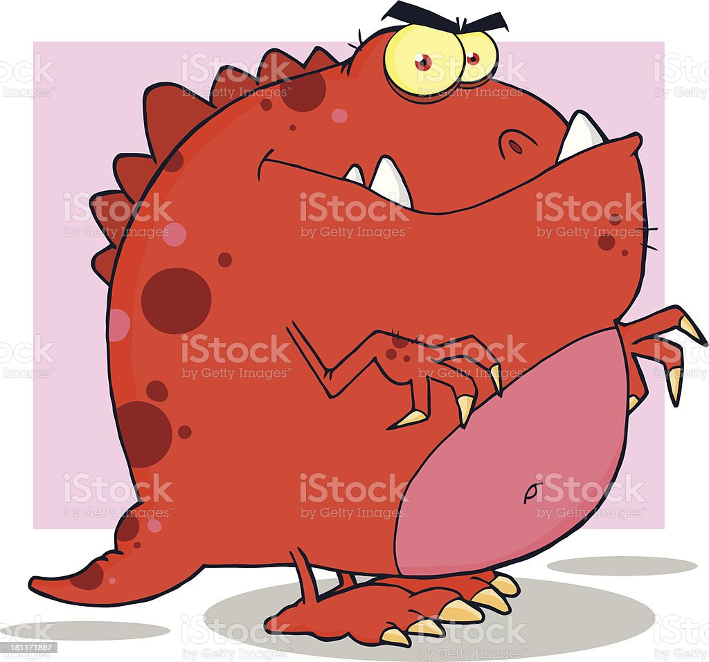 Red Dinosaur Cartoon Character With Background royalty-free stock vector art