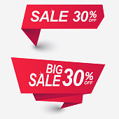Red Discount banner template design. Price tag, Premium quality, sale. Special offer badges and vector labels