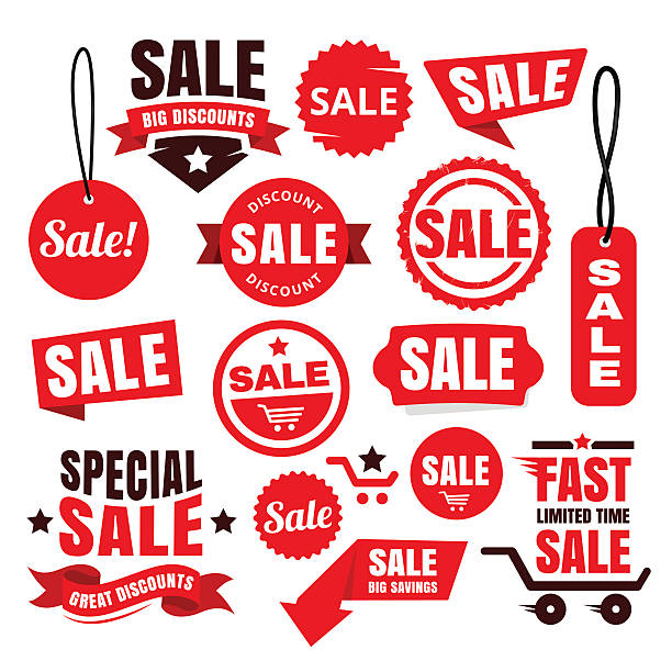Red Discount Sale Tags, Badges And Ribbons vector art illustration