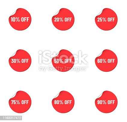 round red discount stickers. bent labels isolated on white background. discount from 10 to 90 percents off