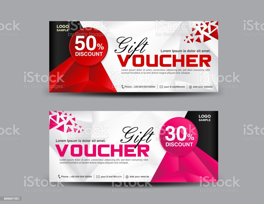 Red Discount Voucher Template Pink Coupon Design Ticket Banner Cards