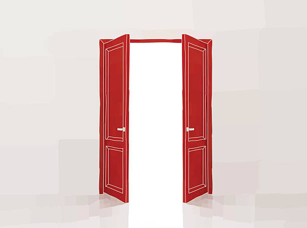 Red doors Two red door opening to the light, doodle style vector illustration himbeeren stock illustrations