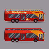 Red double decker bus, travel, sightseeing, city visiting, touristic transport -  - vector illustration