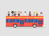 Red double decker. Sightseeing tour. Big city. Tourists. Side view bus. Flat editable vector illustration, clip art