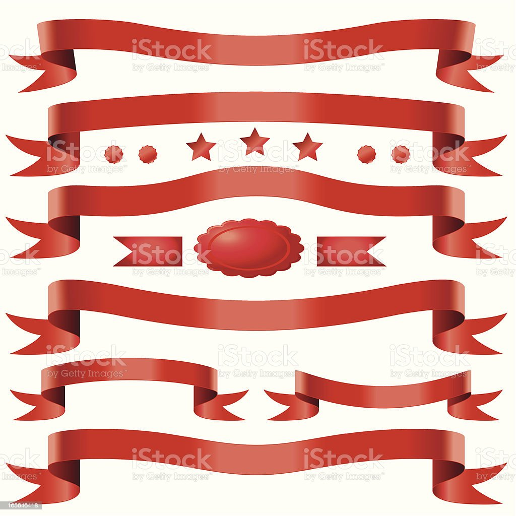 Red double tail ribbons royalty-free stock vector art