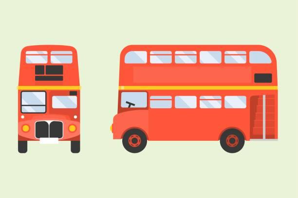 ilustraciones, imágenes clip art, dibujos animados e iconos de stock de icono de autobús de londres rojo de dos pisos en el frente y vista lateral, ilustrador de diseño plano - autobús