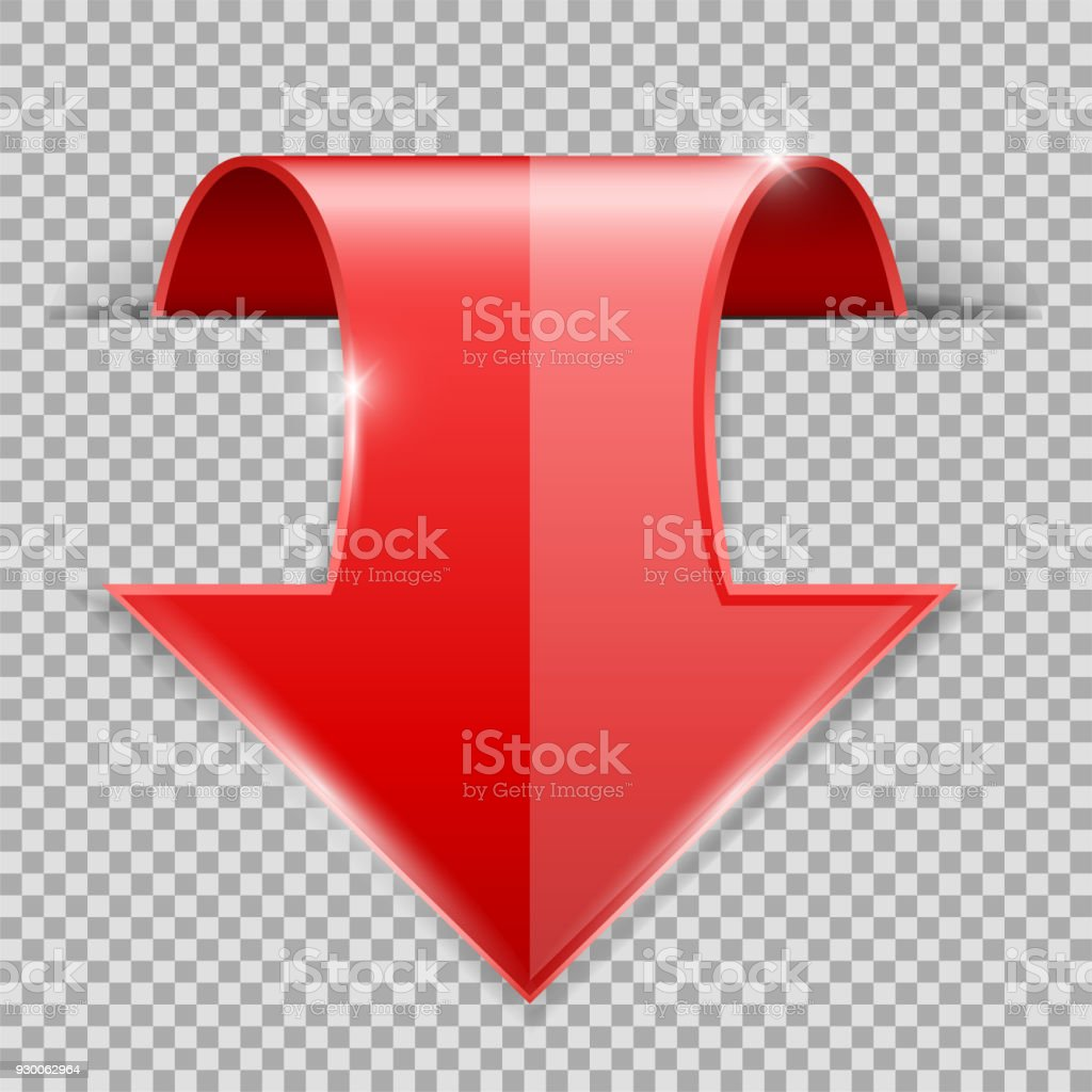 Red DOWN arrow. 3d shiny icon