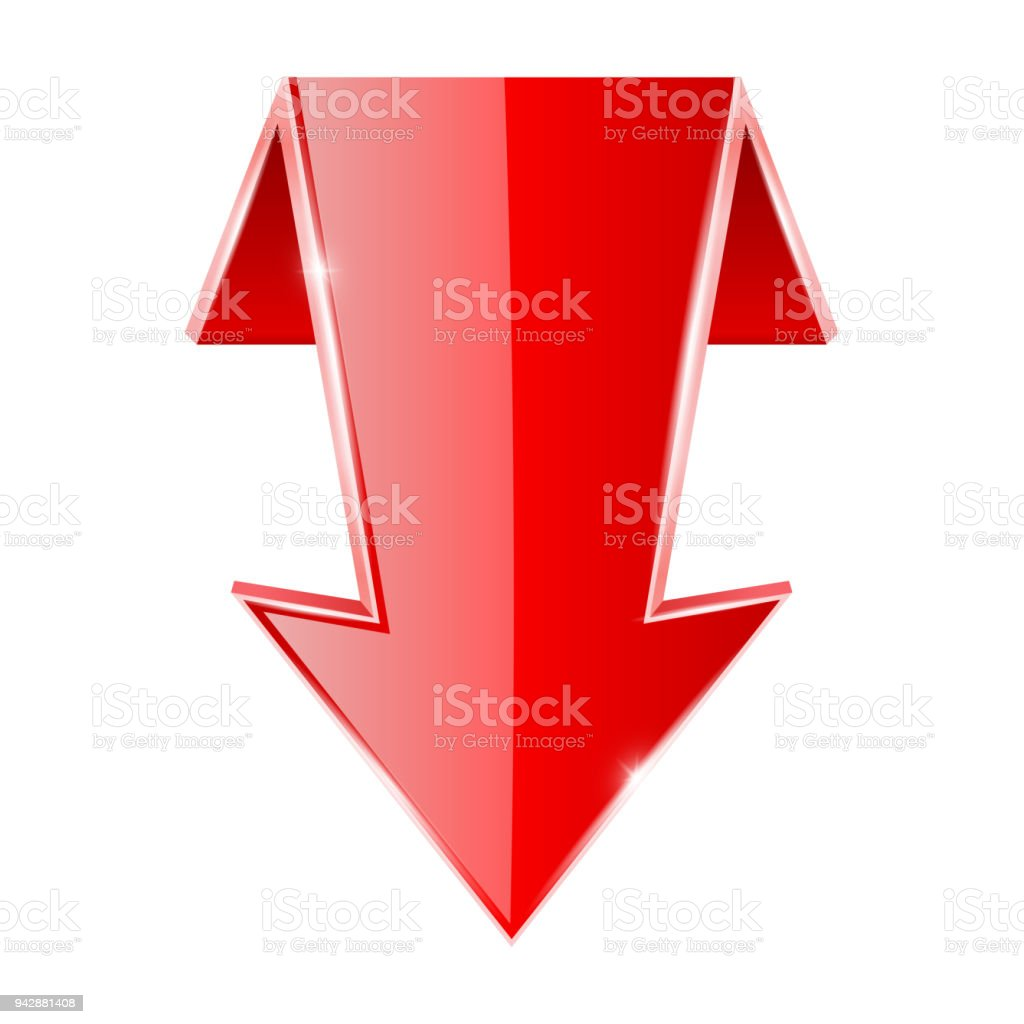 red down arrow folded 3d sign stock vector art more images of