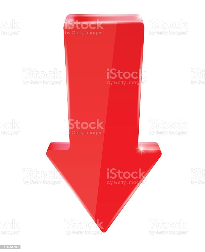 Red down arrow vector art illustration
