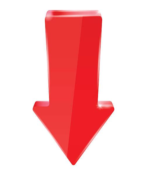 Red down arrow向量藝術插圖