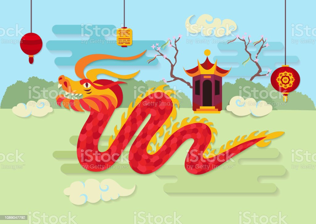 Red dragon and traditional oriental decorations. vector art illustration