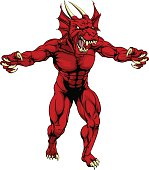 An aggressive tough mean red dragon sports mascot character with claws out