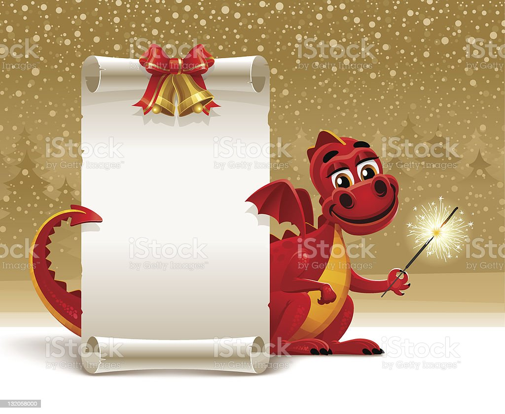 Red dragon with a sparkler and paper scroll royalty-free stock vector art