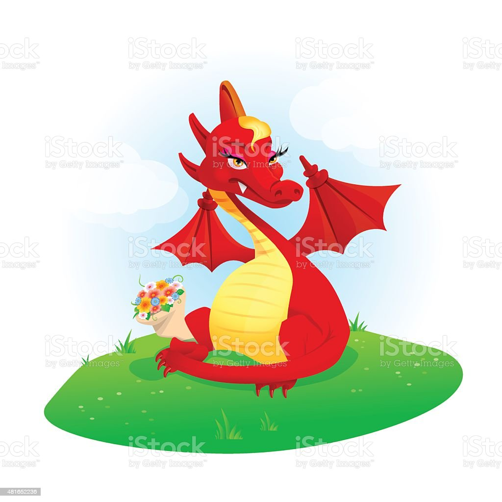 Red dragon with flowers vector art illustration