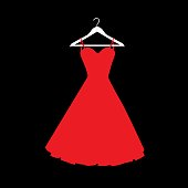 Vector illustration of a red dress on a white hanger against a black background.