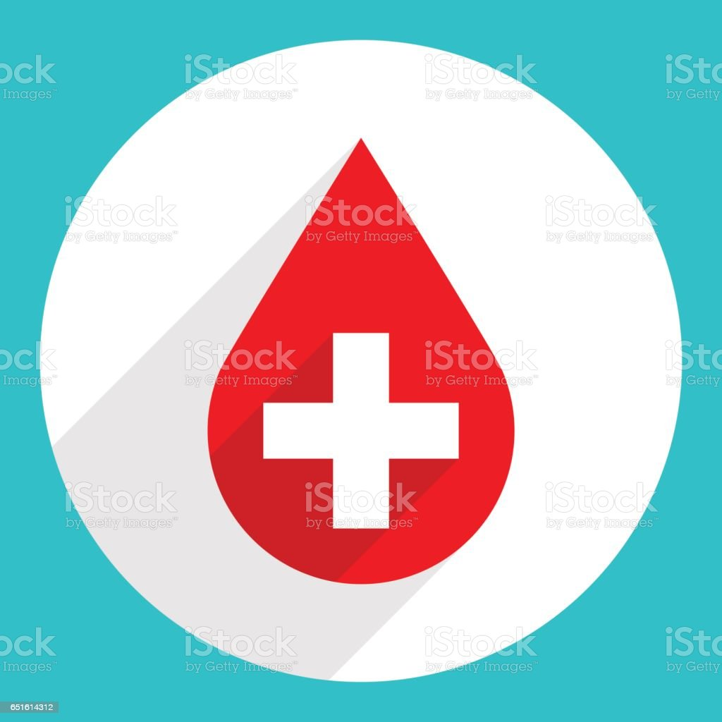 Red Drop Icon First Aid Donate Blood Sign vector art illustration