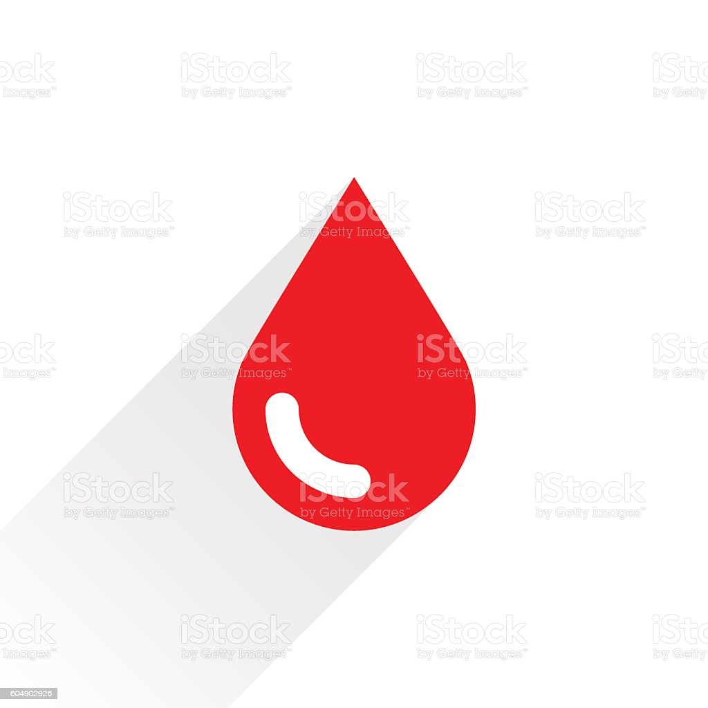 Red drop icon with gray long shadow vector art illustration
