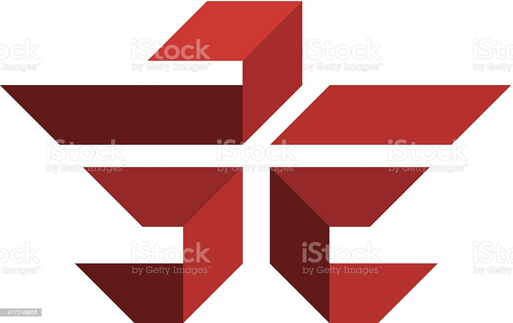 Red eagle cross flying logo illustration