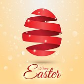 Red Easter egg from spiral ribbon - vector illustration