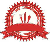 Red label, sticker. OPTIONAL ribbons, knife, fork, spoon. Copy space.