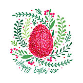 An original artwork vector illustration of a red Easter egg isolated. This inspirational design can be a postcard, invitation or flyer.