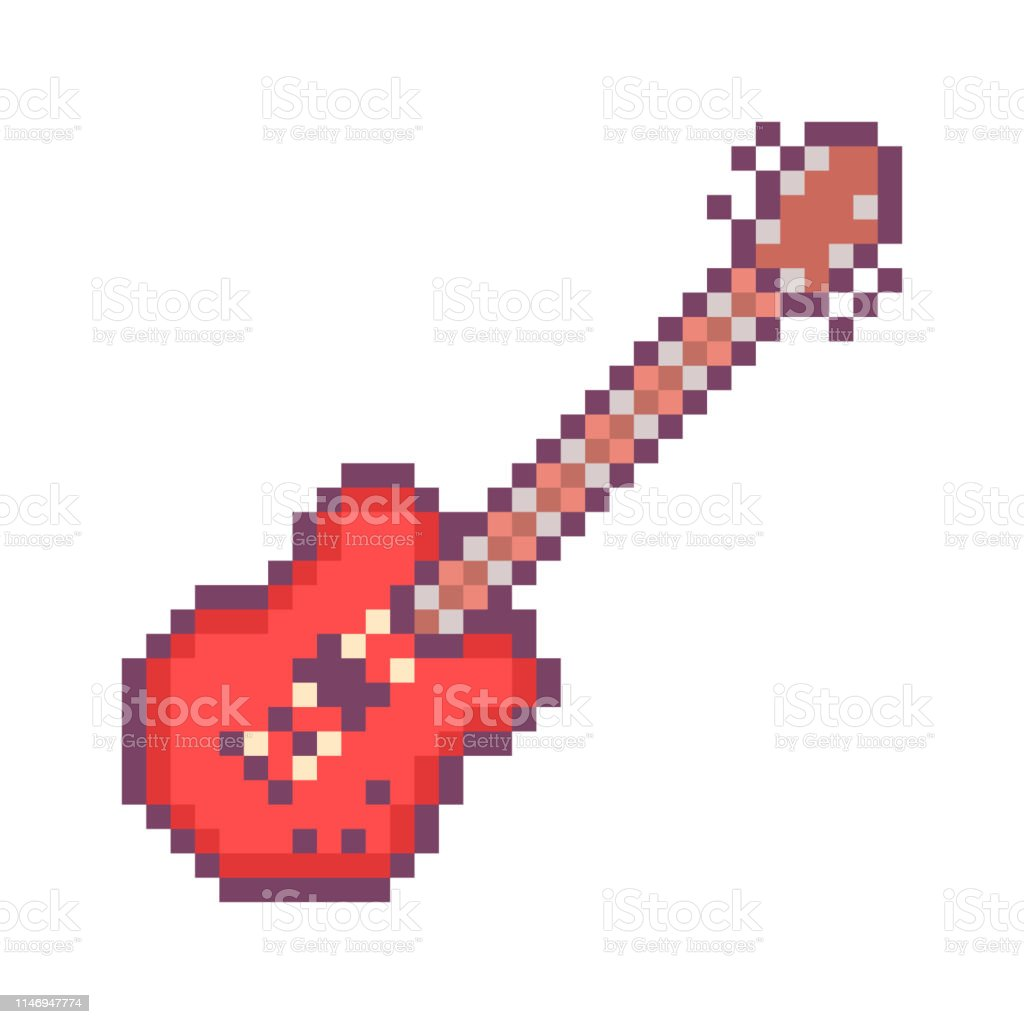 Red Electirc Guitar 32x32 Pixel Art Icon Isolated On White