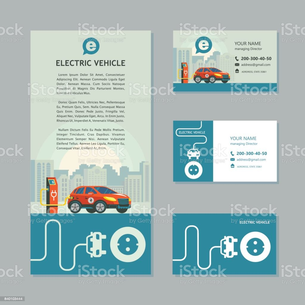 Red Electric Car At A Charging Station Service Electric Vehicles ...