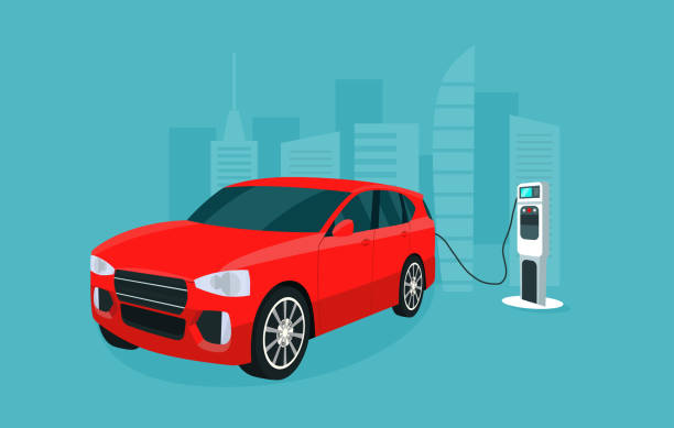 Red electric compact CUV isolated. Electric car is charging, isometric view. Vector  illustration. Red electric compact CUV isolated. Electric car is charging, isometric view. Vector  illustration. electric vehicle charging station stock illustrations