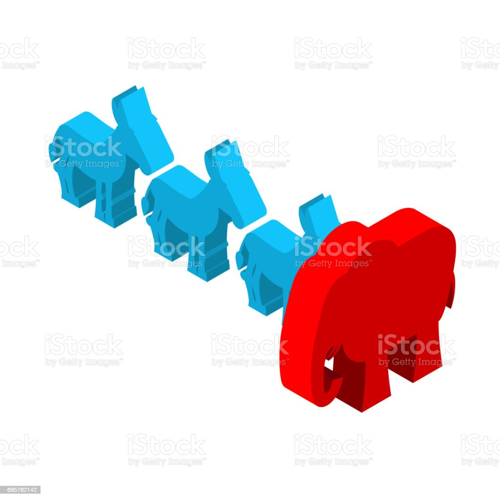 Red Elephants against blue donkey. Symbols of USA political party. Democrats vs Republicans. Elections in  United States royalty-free red elephants against blue donkey symbols of usa political party democrats vs republicans elections in united states stock vector art & more images of american flag