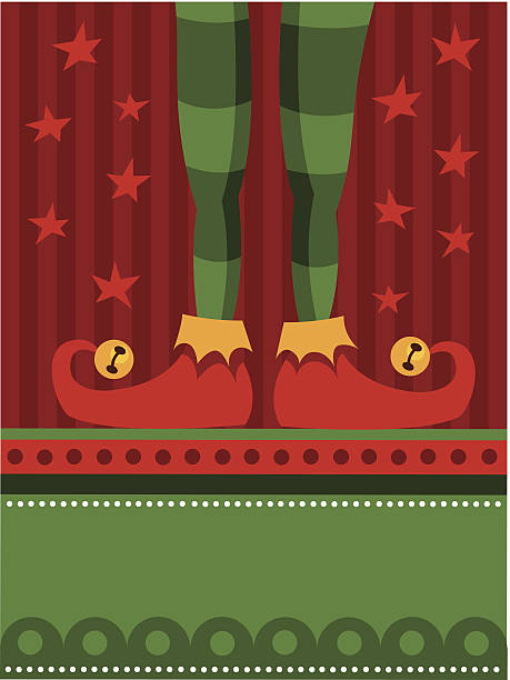 Red elf feet vector art illustration