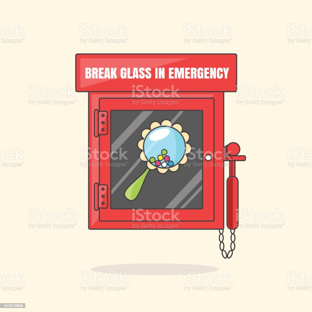 Red emergency box with in case of emergency breakable glass. Box with beanbag vector art illustration