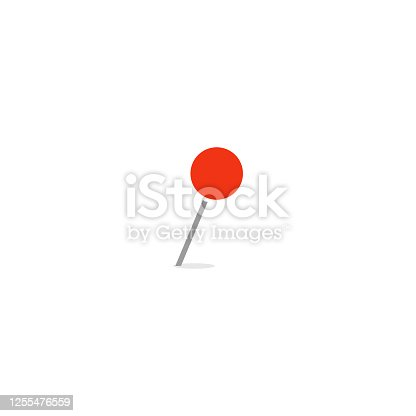 istock Red empty marker, closeup thumbtack, needle with round tip, web vector icon for business, isolated illustration on white background. 1255476559