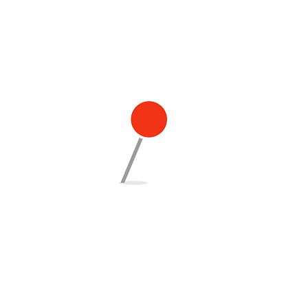 Red empty marker, closeup thumbtack, needle with round tip, web vector icon for business, isolated illustration on white background.