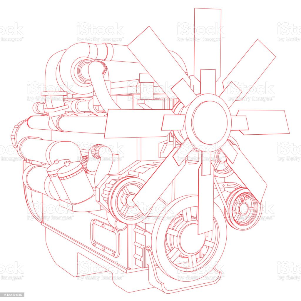 Red engine line drawing vector art illustration