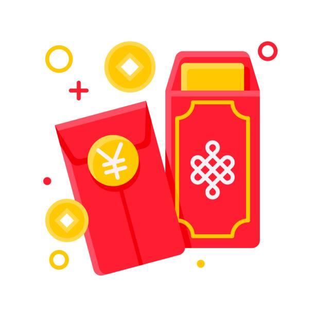 Red envelope vector, Chinese New year flat icon – artystyczna grafika wektorowa