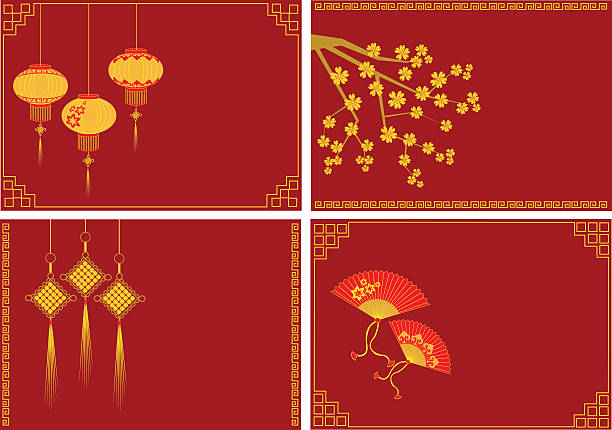 red envelopes for chinese new year vector art illustration