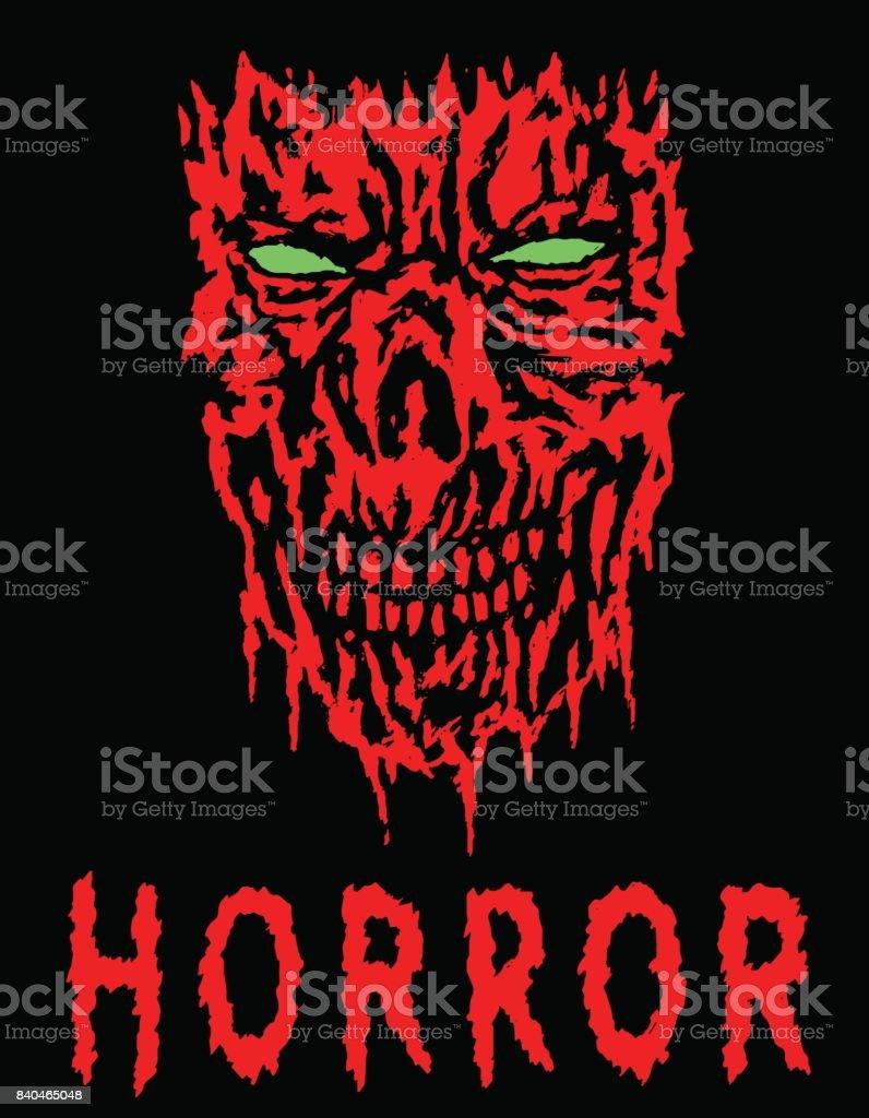 Red evil shabby head. Vector illustration. vector art illustration