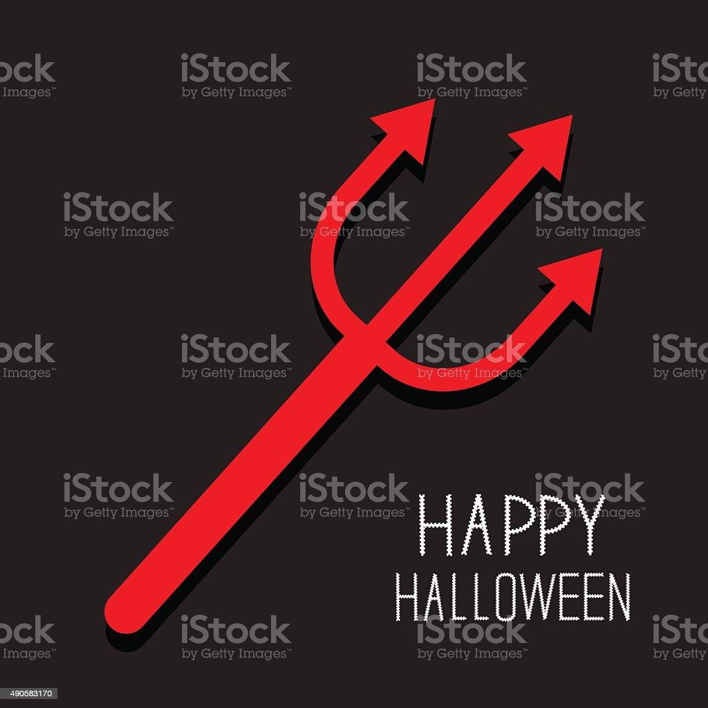 Red evil trident. Happy Halloween card. Flat design Black background vector art illustration