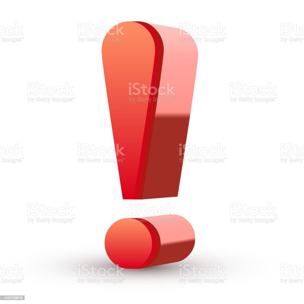 Red exclamation mark vector art illustration