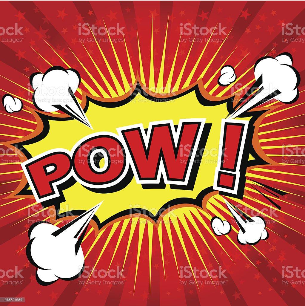 Red explosive comic book lettering reading Pow vector art illustration