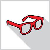 Red Eyeglasses Shadow Icon