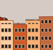 Four city buildings with windows and blinds. Vector illustration, easy to edit, manipulate and resize. Layered EPS10 with global colors, clipping paths and transparencies. Individual elements and textures. Hi-res JPG included.