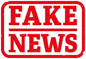 red fake news rubber stamp