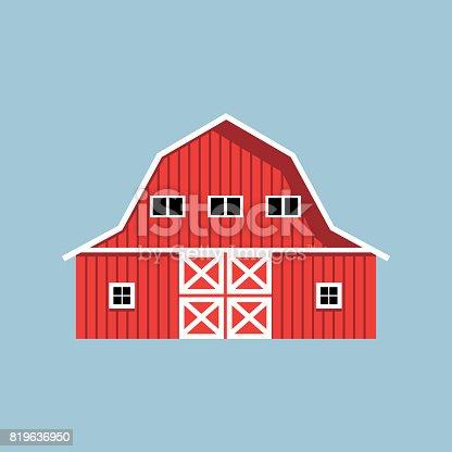 istock Red farm barn 819636950