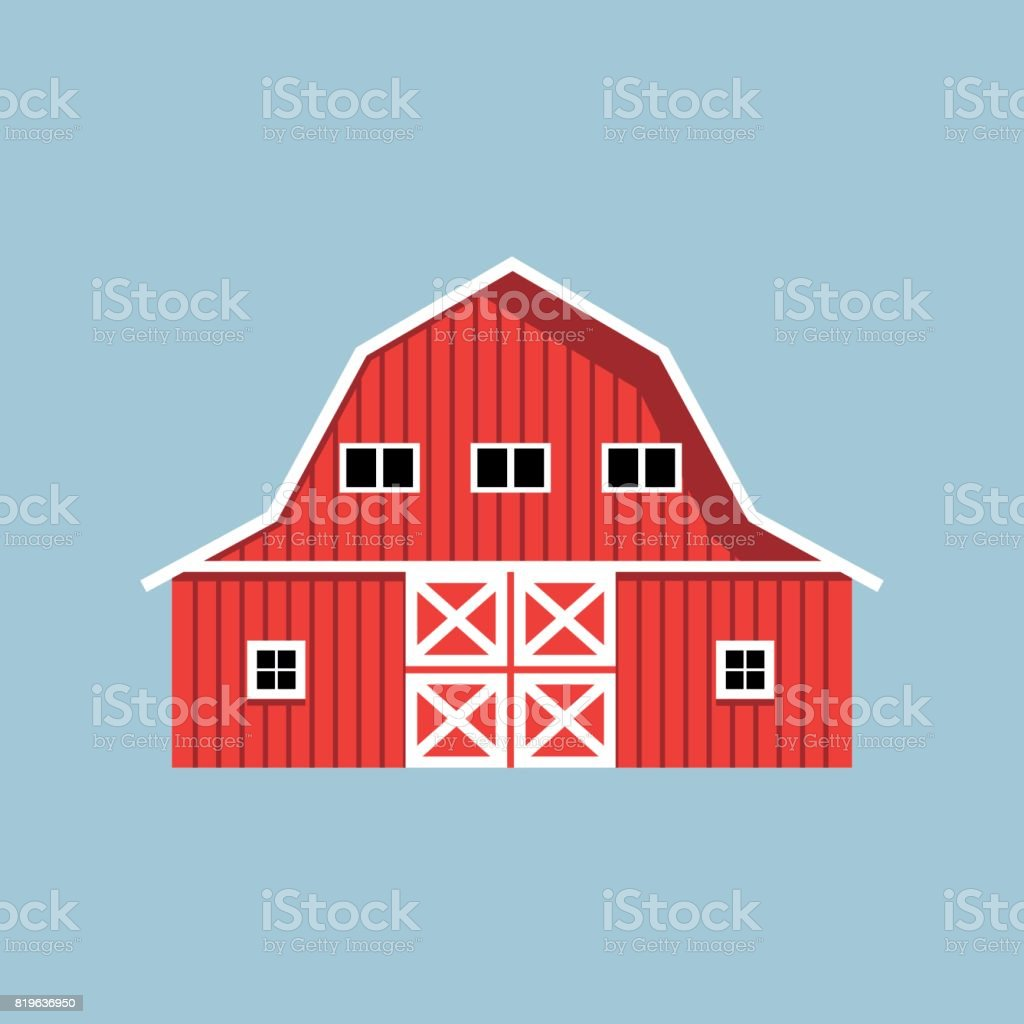 Red farm barn vector art illustration