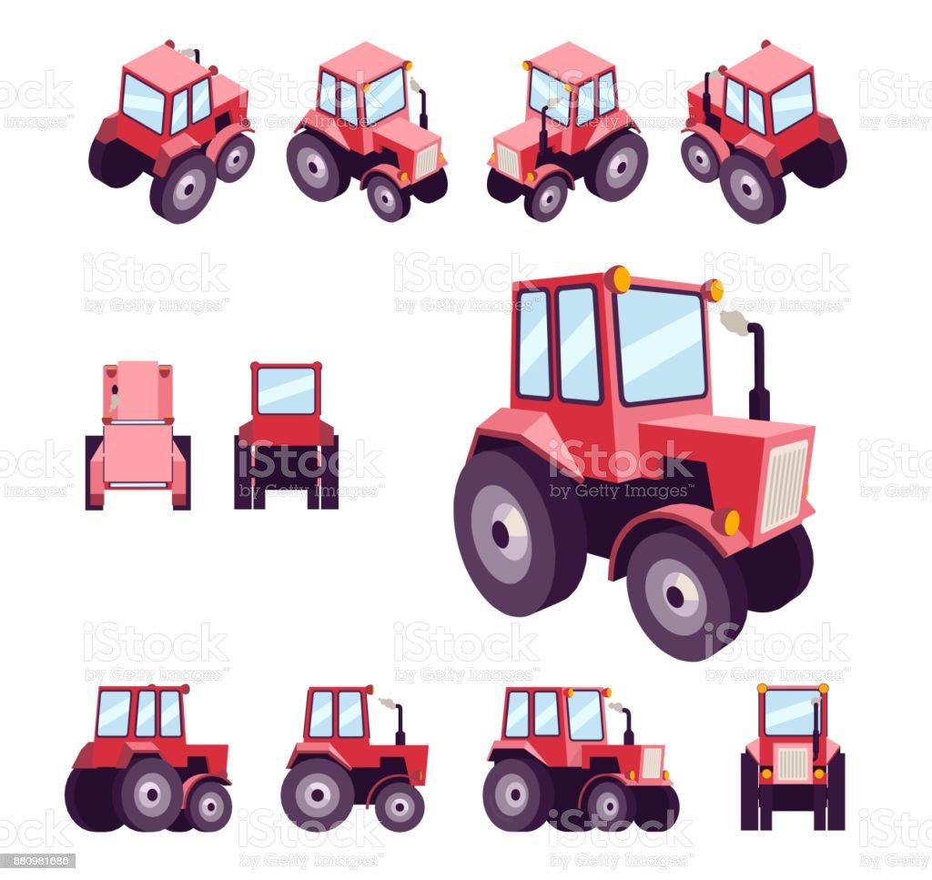 Roter Traktor Aus Verschiedenen Blickwinkeln Fahrzeug Vorlage Vektor ...