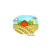 Red farmhouse in the field vector flat illustration isolated on white background. Eco farming icon, logo flat vector concept with a farm and landscape linear style illustration